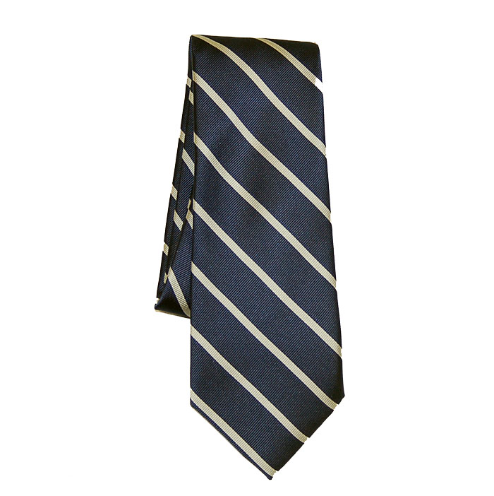 Varsity Colors Classic Navy/Silver Striped Silk Tie