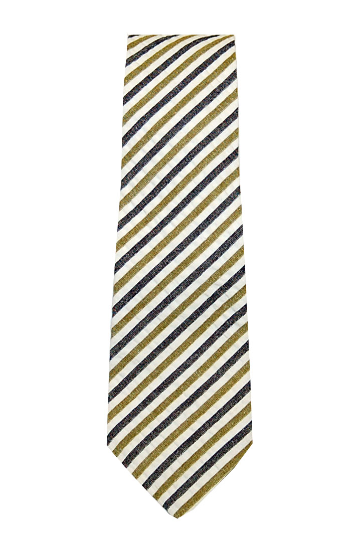 Olde School Seersucker Tie Navy/Gold/Green