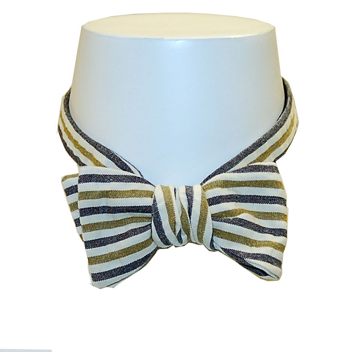 Olde School Navy/Gold/Green Seersucker Bow Tie