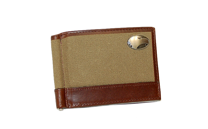 Zep-Pro Brown Canvas & Leather Bifold Wallet w/Pewter Eagle