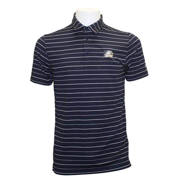 Under Armour Navy/White Striped Polo w/Athletic Logo