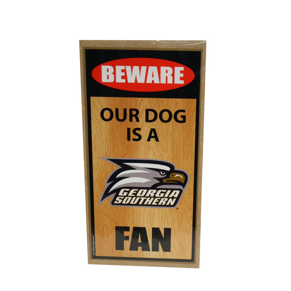 Wooden Beware of Dog Sign w/Athletic Logo