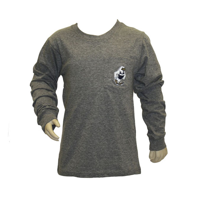 League Kids Gray Youth Long Sleeve w/GUS on Pocket &Back
