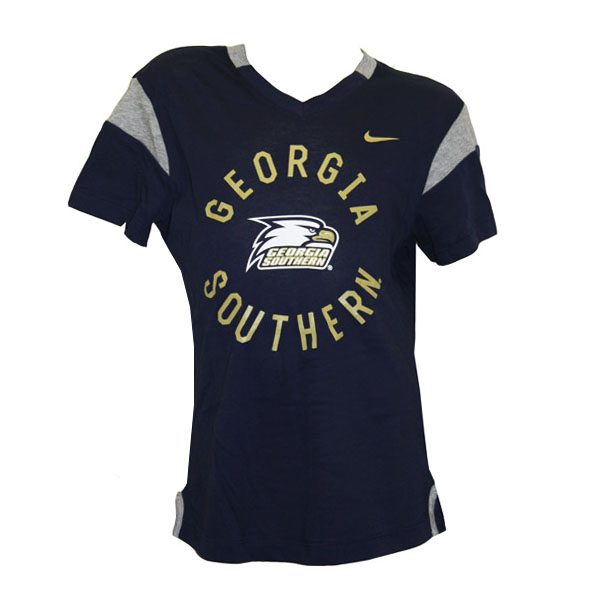 Nike Navy Girls V-Neck T-Shirt w/GS & Athletic Logo