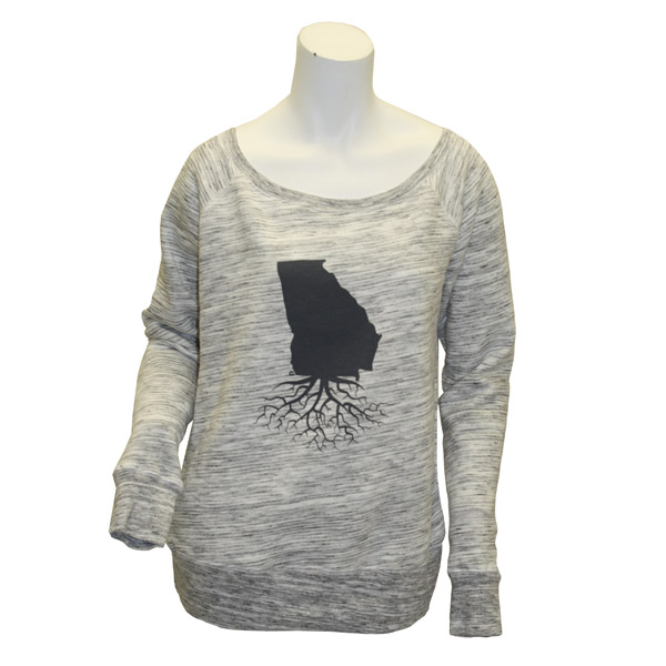WYR Grey Off-Shoulder Crewneck w/Georgia Roots