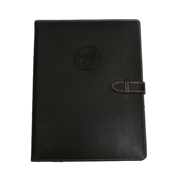 Samsill Contrast Stitch Leather Padfolio w/Strap Closure