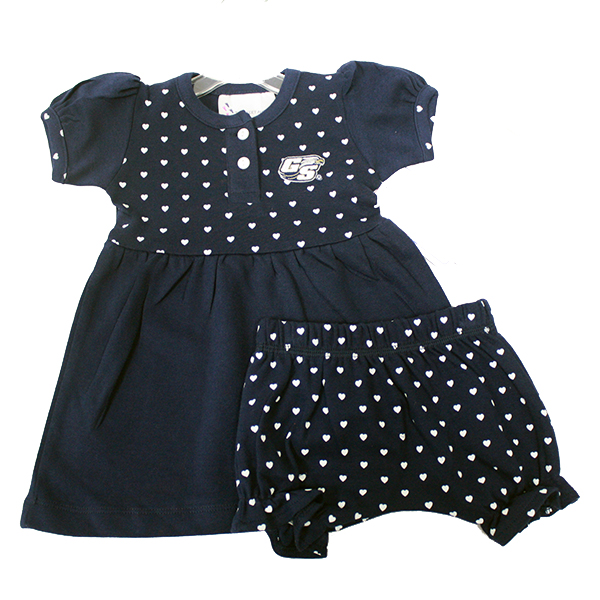 Two Feet Ahead Navy & White Infant Heart Dress