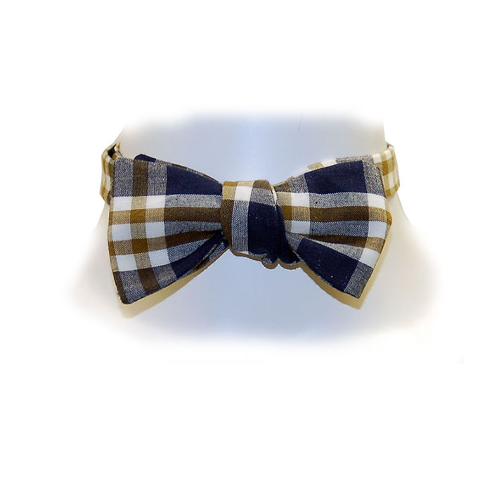 Image For Olde School Navy/Gold Madras Bow Tie