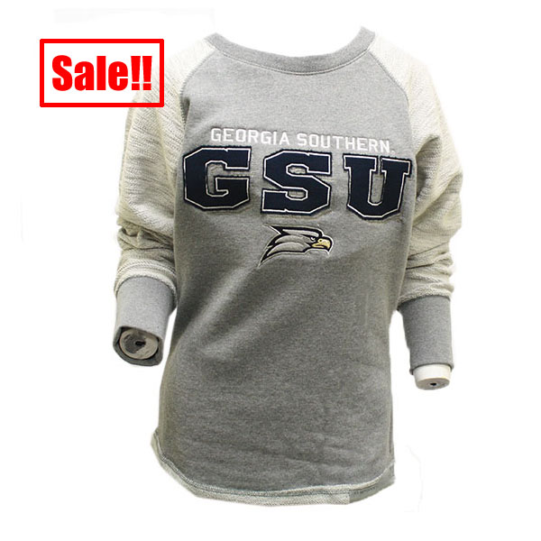 Image For CI Sports Ladies Gray Crew w/GSU and Eagle Head