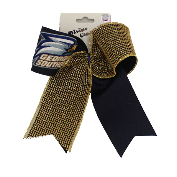 Image For Navy/Gold glitzy cheer bow w/Athletic Logo