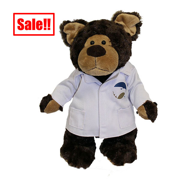 "Image For 11"" Mascot Factory Bear w/Academic Logo on the Lab Coat"