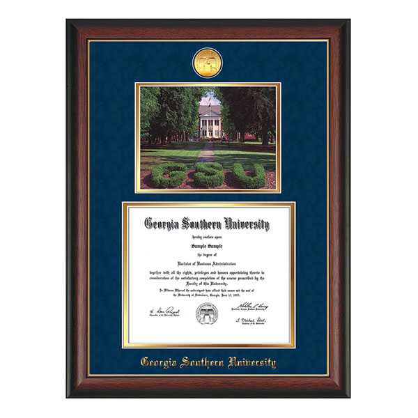 Image For Rosewood Double Window Diploma Frame w/Medallion & Picture