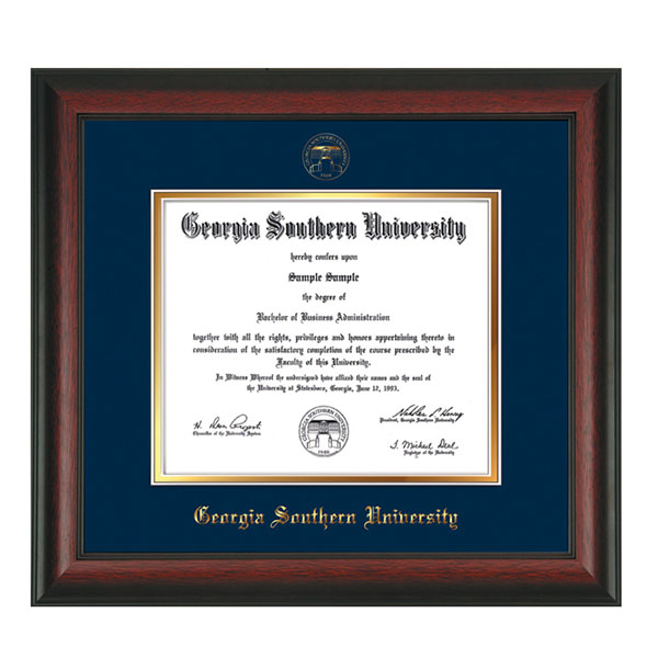 Image For Rosewood Diploma Frame w/Seal - Navy On Gold