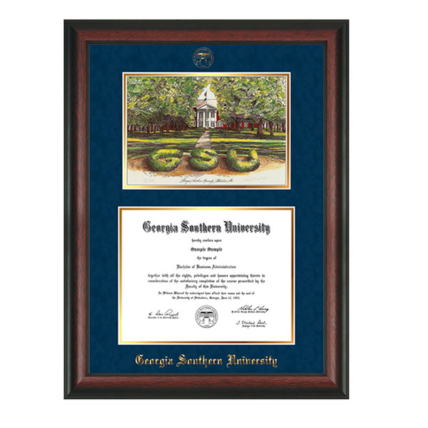 Image For Rosewood Diploma Frame w/Watercolor Sweetheart Circle & Seal