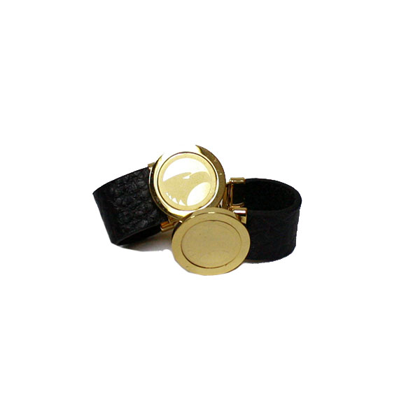 Image For CSI Gold/Leather Cufflinks w/Academic logo