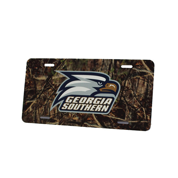 Image For JayMac Camo Steel License Plate w/Athletic Logo