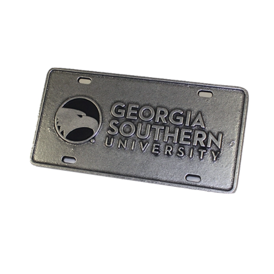 Image For Pewter License Plate w/Academic Logo & GSU