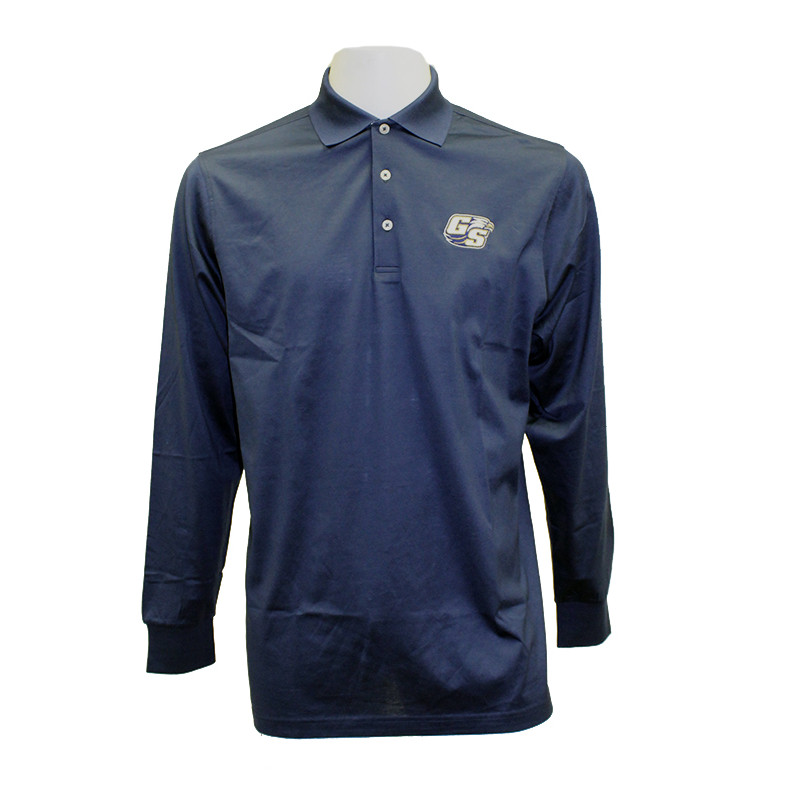 Image For Divots Navy Long Sleeve Polo w/Embroidered Secondary Logo