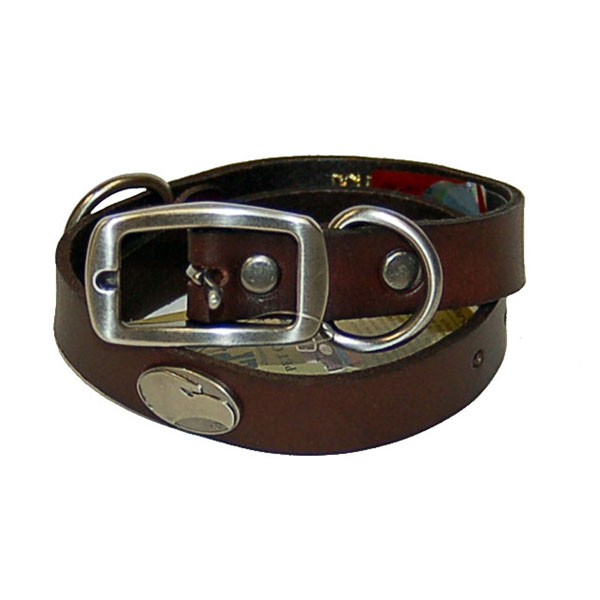 Image For Zep-Pro Brown Leather Concho Pet Collar w/Academic Logo
