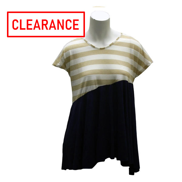Image For Game Day Girl Stuff Gold/White Striped Navy Top