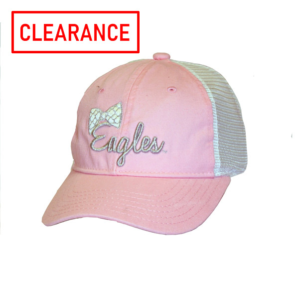 Image For The Game Youth Pink/White Cap w/Eagles & Bow