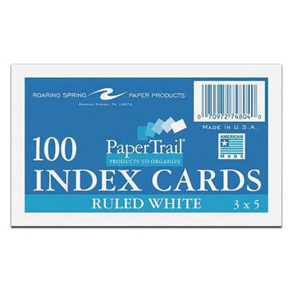 "Image For Roaring Spring Index Cards, 3"" x 5"", Ruled White, 100 Pack"