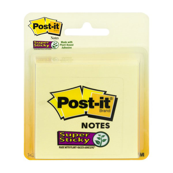 Image For Post-it Notes Super Sticky,Yellow, 3CT