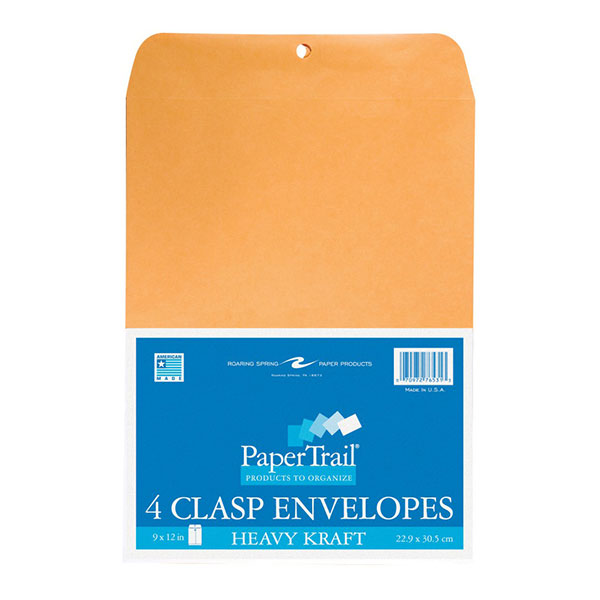 "Image For Roaring Spring Clasp Envelopes, 9""x12""in, 4 Count"