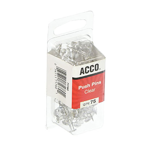 Image For Acco Brands 75 Count Clear Push Pins