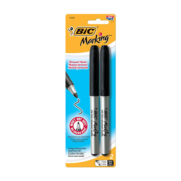 Image For BIC Mark-It Permanent Marker, Fine Point, Black, 2 Markers