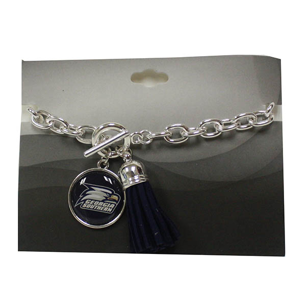 Image For Silver Bracelet W/Athletic Logo/Navy Tassel