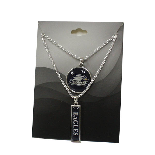 Image For Silver Double Necklace w/Eagles/Athletic Logo