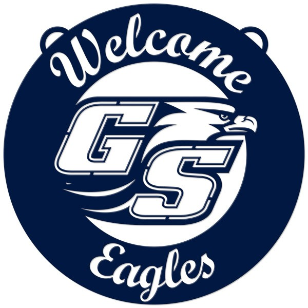 Image For Welcome Eagles Circle Navy Sign 24inch