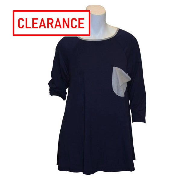 Image For Game Day Girl Stuff Navy/Silver Top w/Pocket