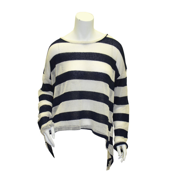 Image For Navy/White Oversized Striped Sweater