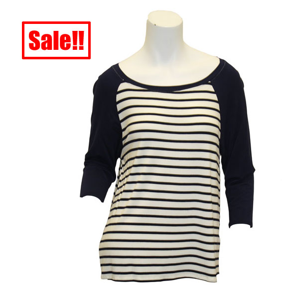 Image For Game Day Girl Stuff Navy Striped Top