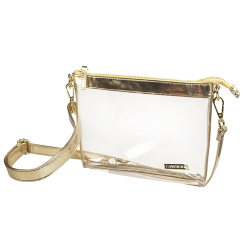 Image For Small Crossbody - Clear w/ Gold Accents