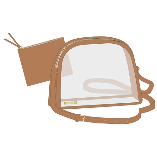 Image For Half Moon Crossbody - Clear w/ Camel Accents