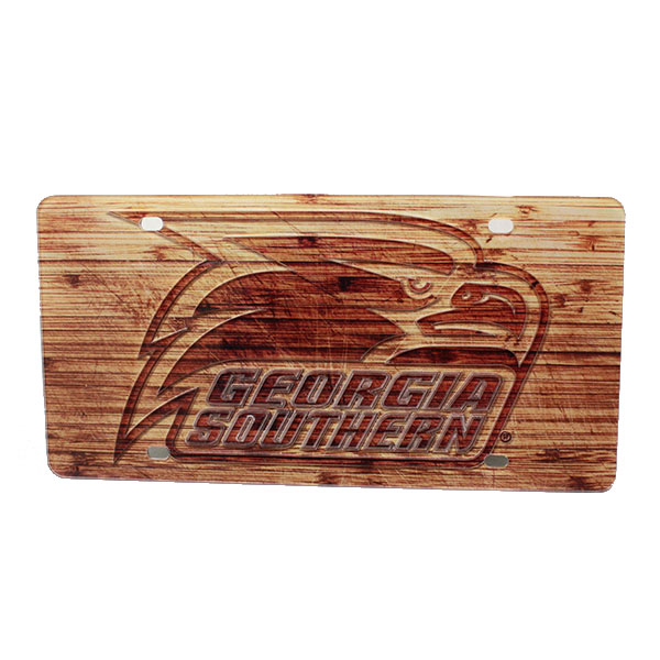 Image For Wood License Plate w/Athletic Logo