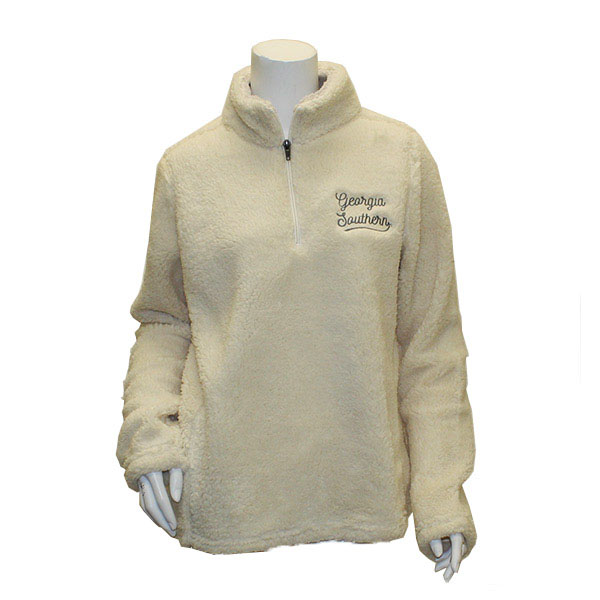 Image For MV Sport Ivory Addison Sherpa Quarter Zip
