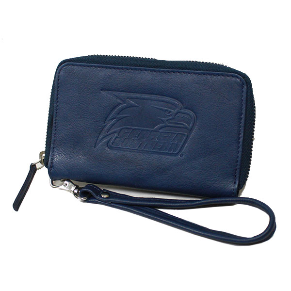 Cover Image For Carolina Sewn Navy Leather Clutch w/Athletic Logo