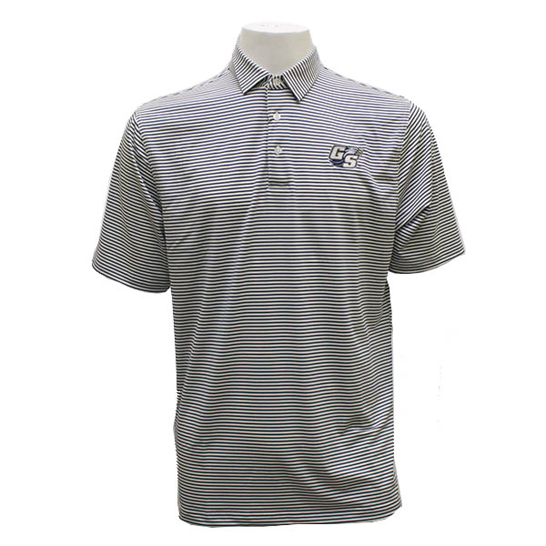 Image For Divots Men's Pique Mini Stripe w/Secondary Logo