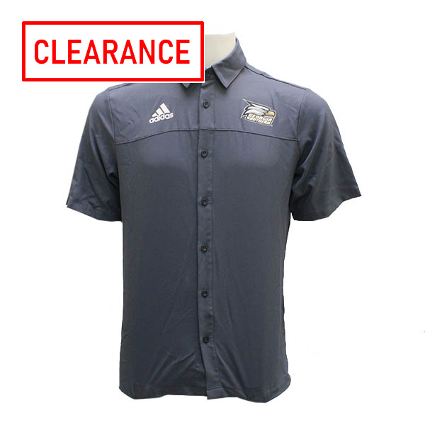 Image For Adidas Gray Full Button Sideline Polo w/Athletic Logo