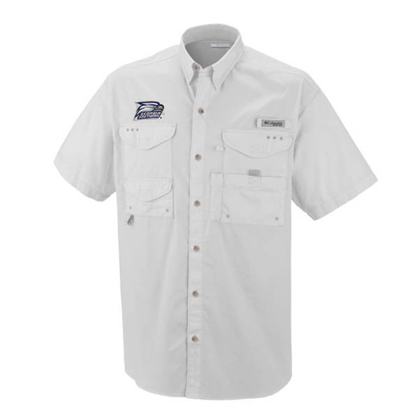 Image For Columbia White Collar Button Shirt w/Athletic Logo