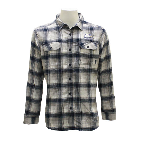Image For Columbia Navy & White Button Down Flannel w/Athletic Logo