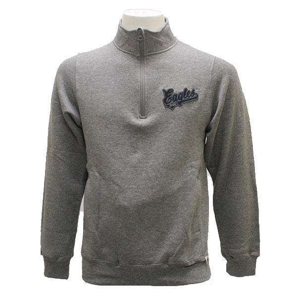 fa0b5690 Russell Athletic Gray Fleece 1/4 Zip Pullover w/Eagles