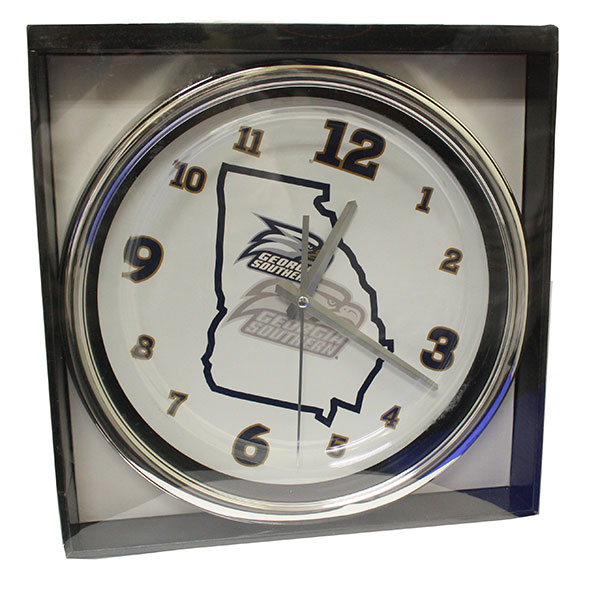 "Image For 12"" Chrome Round Clock w/Athletic Logo/State"