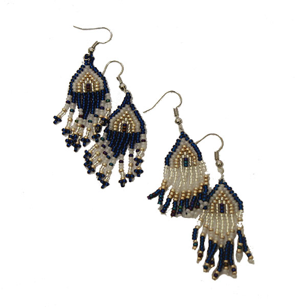 Image For Blue and White Tribal Beaded  Earrings