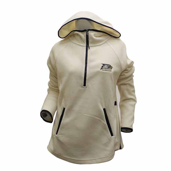 Image For White/Navy Ladies 1/4 Zip Hoodie w/Athletic Logo