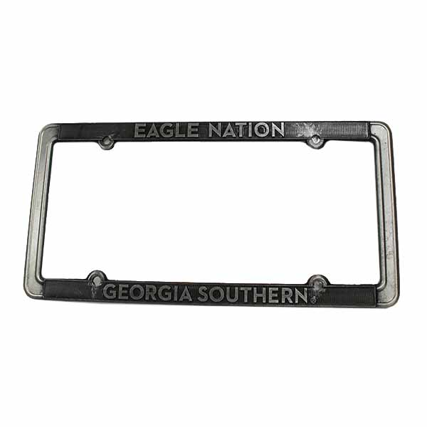 Image For Metal Thin License Plate Frame w/Eagle Nation/GASO